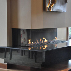Ortal Three Side Clear 150 Direct Vent Fireplace